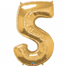 "Gold Number 5 Balloon - Foil Number Balloon 1pc (34"" Qualatex)"